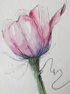 Tulip flower pink original art watercolor painting pen and ink watercolor flower pink tulip hand paintedOriginal-Aquarell von einer rosa Tulpe i. Pen And Watercolor, Watercolor Flowers, Watercolor Paintings, Art Paintings, Original Paintings, Original Art, Tulip Painting, Pink Tulips, Tulips Flowers