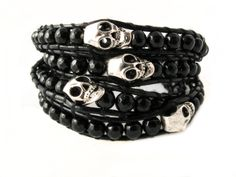 Onyx Leather Skull Wrap Bracelet (Black) Inked.com $19.95