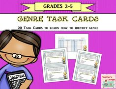 Genre Task Cards FREEBIE: 20 multiple choice Task Cards to help your students learn the different literary genres. Source by Genre Lessons, Library Lessons, Reading Lessons, Reading Skills, Teaching Reading, Reading Genres, Library Skills, Reading Resources, Genre Activities