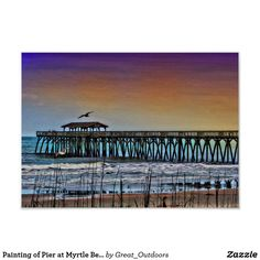 Painting of Pier at Myrtle Beach - Poster