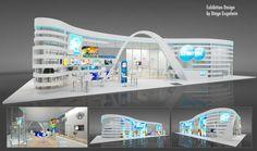 Exhibition Design by Diego Gugelmin Exhibition Stall, Exhibition Booth Design, Exhibit Design, Exhibition Ideas, Kiosk Design, Display Design, Exibition Design, Arabian Art, Trade Show