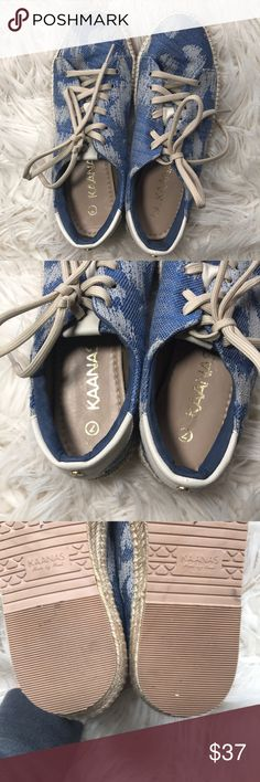 Made By Hand Blue Gypsy Kaanas Espadrilles Kaanas  Made by hand Size 7  Boho blue pattern Like new! Kaanas Shoes Espadrilles