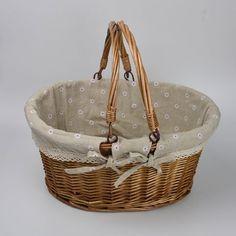 Rurality Vintage Wicker Picnic Basket with Double Folding Handles Vintage Picnic Basket, Wicker Picnic Basket, Tins, Handle, Decor, Tin Cans, Decoration, Decorating, Door Knob