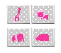Nursery Art Zoo Jungle Safari Elephant Rhino Giraffe Grey LIght Hot Pink Animals