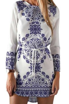 Retro Print Long Sleeves Dress PURPLISH BLUE: Long Sleeve Dresses | ZAFUL