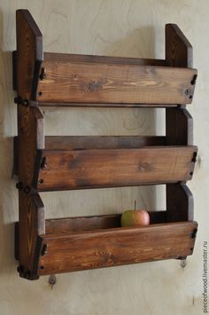 Купить Деревянная полка для фруктов - коричневый, полка для кухни, полка из…
