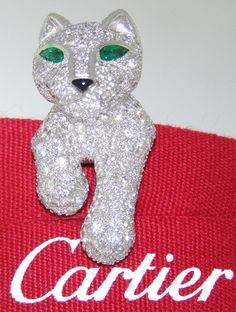 IMPORTANT CARTIER PANTHER 18k WHITE GOLD DIAMOND EMERALD ONYX JABOT PIN BROOCH #Cartier