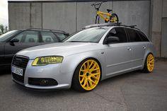 Crazy yellow rimmed Audi wagon