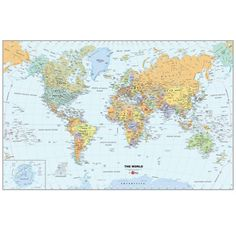 Teach your children the geography of the world using this WallPops® World Map. It is a colorful and detailed illustration, showing all the countries in the world. This map also has a zoomed in illustration of Antarctica. It is re-positionable, removable and erasable.