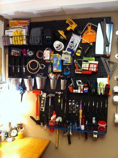Peg board storage.