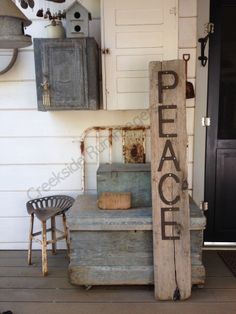 We pulled this great old piece of wood out of the creek.  No idea how far or how long it had traveled but I wanted to use it.  This PEACE sign will be apart of our holiday decoration in front of the house come Christmas.
