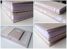 Caderno com costuras copta e francesa. Papel do miolo com corte feito a mão, rústico. Coptic and French stitchs. #tepires #bookbinding #coptic