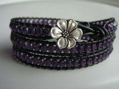 Purple Beaded Leather Wrap with Flower Button by tinacdesigns, $30.00