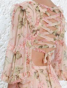 Women's Dress Hollow Out Ruffles Floral Print Chiffon Backless Deep V- – omymarts New Blouse Designs, Stylish Blouse Design, Resort Wear Dresses, Kurta Neck Design, Print Chiffon, Traditional Dresses, Casual Winter, Women's Casual, Party Dresses