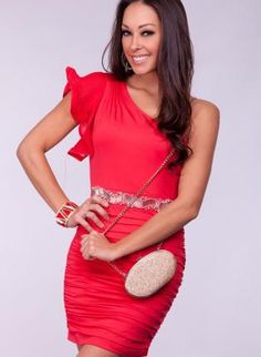 Red One Shoulder Dress with Ruched Skirt & Beaded Waist,  Dress, one shoulder dress  ruffle, Chic