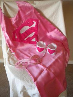 Super Girl Super Hero SUPER SET Costume Cape, Mask and Wrist Cuffs. $27.00, via Etsy.