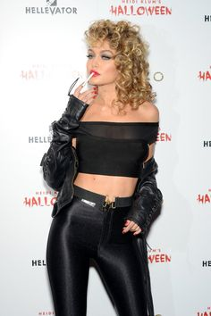 Pin for Later: Celebrities Killed the Pop-Culture-Inspired Halloween Costumes This Year Gigi Hadid as Sandy From Grease We got chills. Grease Halloween Costumes, Celebrity Halloween Costumes, Last Minute Halloween Costumes, Pop Culture Halloween Costume, Halloween Outfits, Zombie Costumes, Halloween Couples, Pirate Costumes, Family Halloween