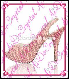 Aidocrystal 2016 Hot Selling New Model Fashion High Heel Shoe Custom Pink Pearl Peep Toe Slingback Women Sandals