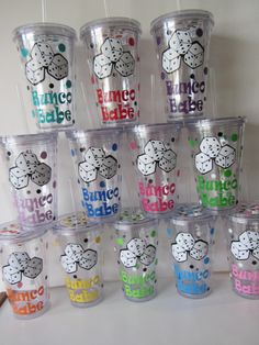 Bunco acrylic tumblers set of 12 perfect for by DottedDesigns Bunco Snacks, Bunco Prizes, Bunco Game, Bunco Party Themes, Bunco Ideas, Party Ideas, Game Ideas, Party Favors, Halloween Bunco