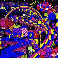 Hippie Wallpaper, Trippy Wallpaper, Retro Wallpaper, Hippie Painting, Trippy Painting, Psychedelic Art, Flipagram Instagram, Wallpaper Animes, Gif Animé