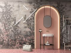 Salon Interior Design, Bathroom Interior Design, Wall Decor Design, Tile Design, Vinyl Wallpaper, Traditional Wallpaper, Creative Decor, Contemporary Interior, Interior Architecture