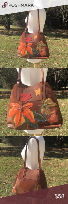 Marc & Marc by Sharif hand painted Autumn purse THE autumn bag to have! 🍁🍂  Gorgeous and unique bag from Marc & Marc by Sharif, in a beautiful chocolatey brown leather and suede patchwork. Hand painted and made in Brazil. It looks like fall leaves have gently fallen into place on this beautiful bag and are in warm hues of golden, orange, rust and olive.  Minimal wear to hang tag. One corner shows just a teeny bit of wear. Reposh. 