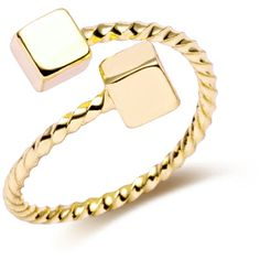 Gold Plated Cube Twist Open Rings (270 INR) ❤ liked on Polyvore featuring jewelry, rings, twist rings, gold plated rings, twist jewelry, gold plated jewellery and gold plated jewelry