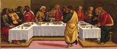 """Luca Signorelli (and his workshop), """"The Last Supper"""" (detail of predella, ca. 1510), oil on panel, each panel: 12.8 x 26.8 inches, overall: 12.8 x 80.5 inches."""