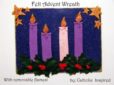 """I made a flat Advent """"wreath"""" for my kids. The first one I made was created with felt material. I added magnets to the back so it could be..."""