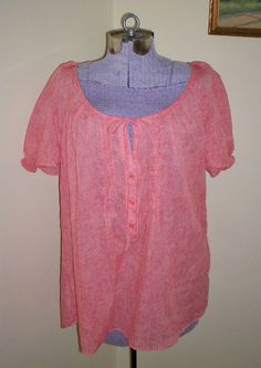 "NWT Women's Size XL Como Vintage Papaya Peasant Top Shirt Blouse Tunic 48"" Bust #ComoVintage #PeasantTop #Casual"