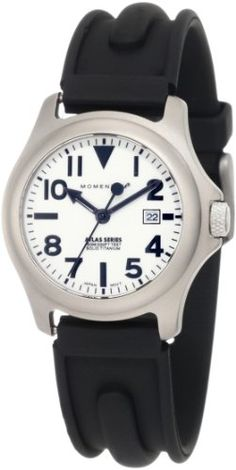 Women's Wrist Watches - Momentum Womens 1MSP01W1 Atlas White Dial Black SLK Rubber Watch -- Want to know more, click on the image.