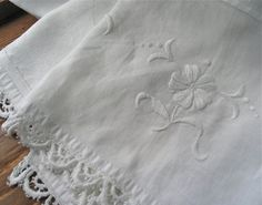White Linen Handtowel OOAK Vintage Linen and Lace Repurposed