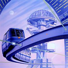 future city, retro-futuristic, monorail, futuristic vehicle, train, sci-fi