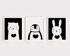 Blanco y negro para imprimir vivero arte conjunto de 3 habitación cartel oso conejo pingüino bebé arte deco infantil habitación decoración niños habitación descarga instantánea de la pared