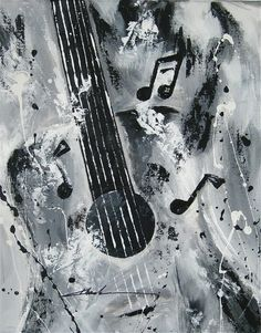 Orginal art absrtact  painting guitar  music notes   -by Khanh Ha #Abstract