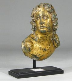 Roman Imperial gilt bronze bust of Castor or Pollux, 1st to 2nd century AD