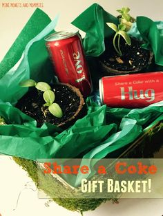 Share a Coke gift basket for Mother's Day and Father's Day. Mothers Day Crafts For Kids, Craft Projects For Kids, Arts And Crafts Projects, Summer Activities For Kids, Art Activities, Summer Kids, Summer Gift Baskets, Making A Gift Basket, Share A Coke