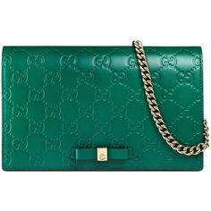 Gucci Signature Mini Bag ($895) ❤ liked on Polyvore featuring bags, handbags, shoulder bags, gucci, emerald green, mini shoulder bag, gucci purses, chain strap shoulder bag, blue shoulder bag and blue leather purse