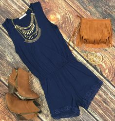Simply Stated Romper: Navy