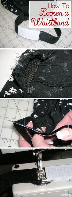 The trick to loosening an elastic waistband is easy and you can usually adjust up to 3 inches! That could save you lots of money in alterations and in new clothes. Get the DIY here: http://www.ehow.com/how_8173560_loosen-elastic-waistband.html?utm_source=pinterest.com&utm_medium=referral&utm_content=inline&utm_campaign=fanpage
