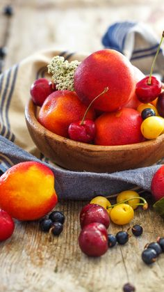 Download Wallpaper 720x1280 Fruits, Berries, Plate, Peaches, Cherries Samsung Galaxy S3 HD Background