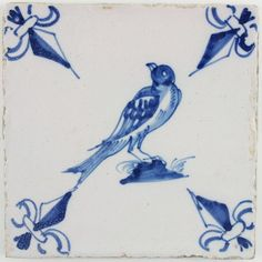 Antique Dutch Delft tile with a bird in blue, late 17th century