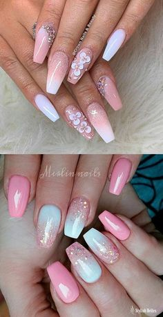 The Best Coffin Nails Ideas That Suit Everyone Gorgeous pink and white ombre nails with glitter ideas! Related posts: 33 Ideen von Glitter Ombre Nails, # Ideas 16 Ideas Nails Art Ombre Coral For 2019 Trendy Nails Oval Nailart Rings Ideas Acrylic Nail Designs, Nail Art Designs, Acrylic Nails, Coffin Nails, Nails Design, Stiletto Nails, Gel Nail, Design Art, Gorgeous Nails