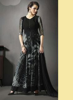 Party Wear Black Georgette Resham Work Anarkali Suit  http://suratwholesaleshop.com  #sarees #salwarkameez #blackdresses