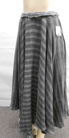 NEW Free People Womens Gray Black Gauzy Distressed Fringe Plaid Maxi Skirt 4 #FreePeople #Maxi