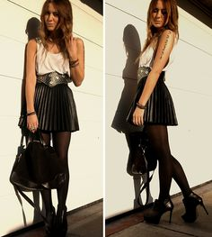 H & M Pleated Leather Skirt; Vintage Studded Belt; Zara Bag; Ankle Booties
