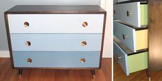 mcm ombre dresser with unexpected pop of color
