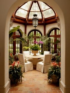 sun room/glass gazebo - dark wood