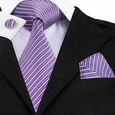 Men's Coordinated Silk Tie Set - Lavender Stripe – Uylee's Boutique