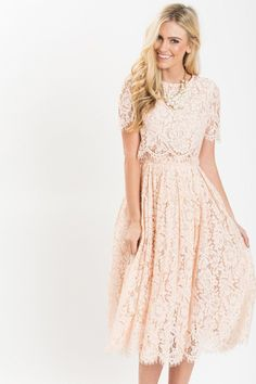 Fleur Blush Pink Lace Midi Dress - We finally found the dress of our dreams! This short sleeve blush midi dress is flattering, romantic, and just plain… Source by - Cute Lace Dresses, Lace Midi Dress, Trendy Dresses, Modest Dresses, Beautiful Dresses, Casual Dresses, Formal Dresses, Maxi Dresses, Midi Skirts